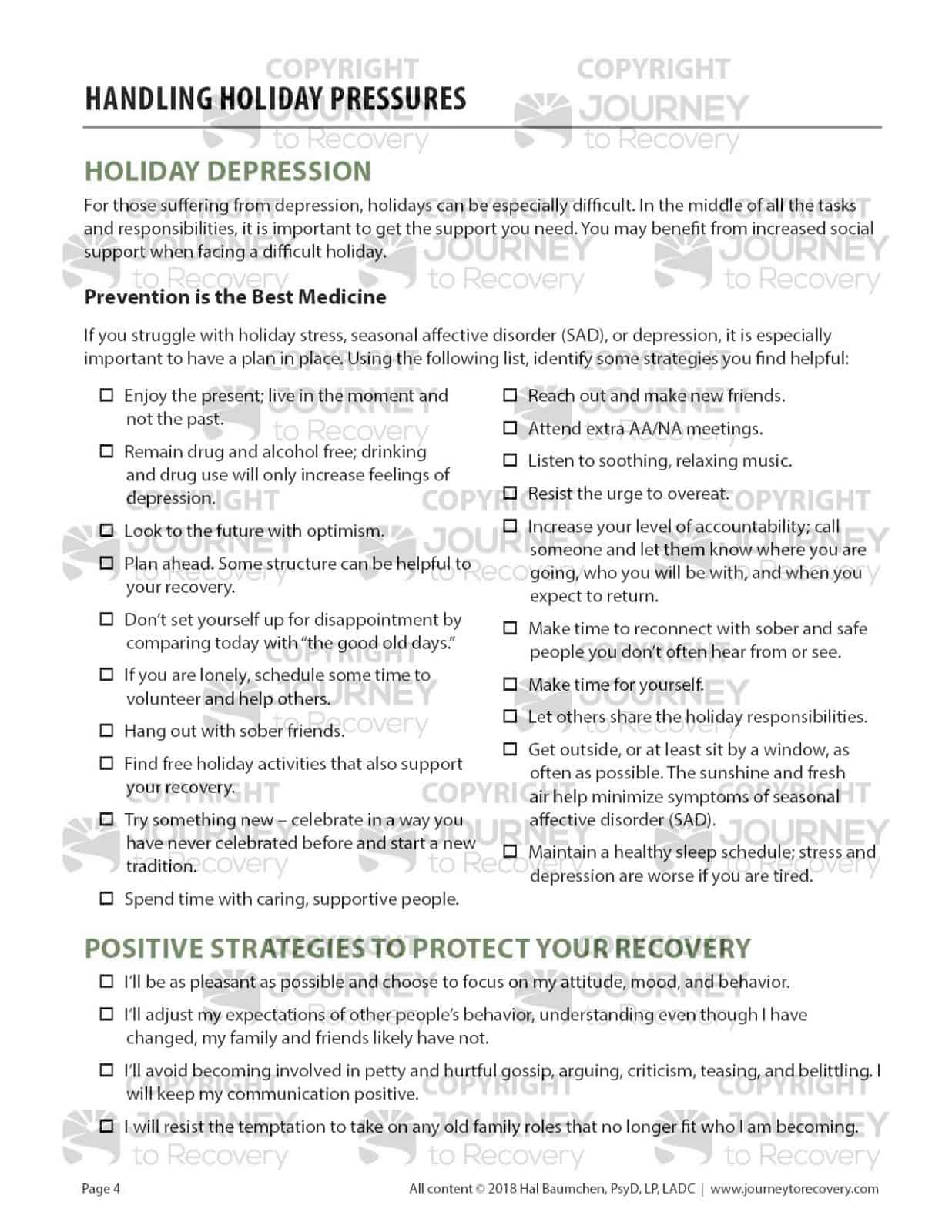 Handling Holiday Pressures Cod Worksheet