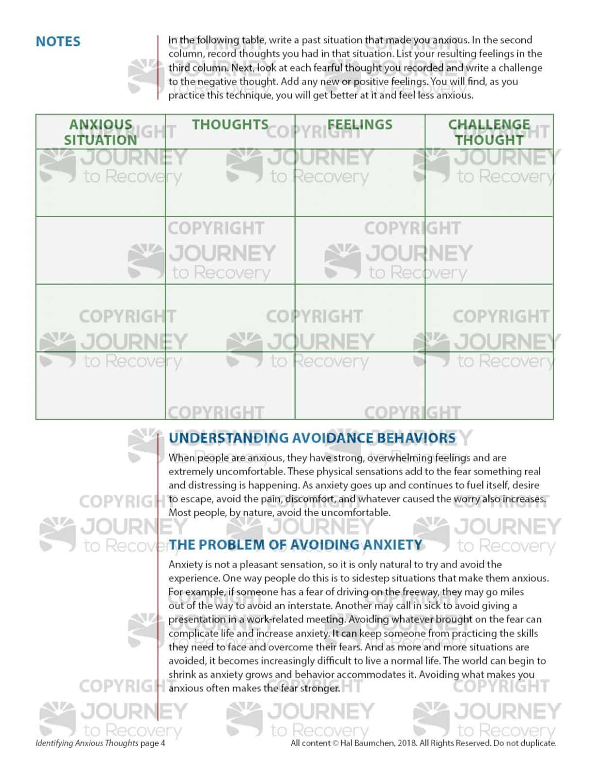 Identifying Anxious Thoughts Cod Lesson