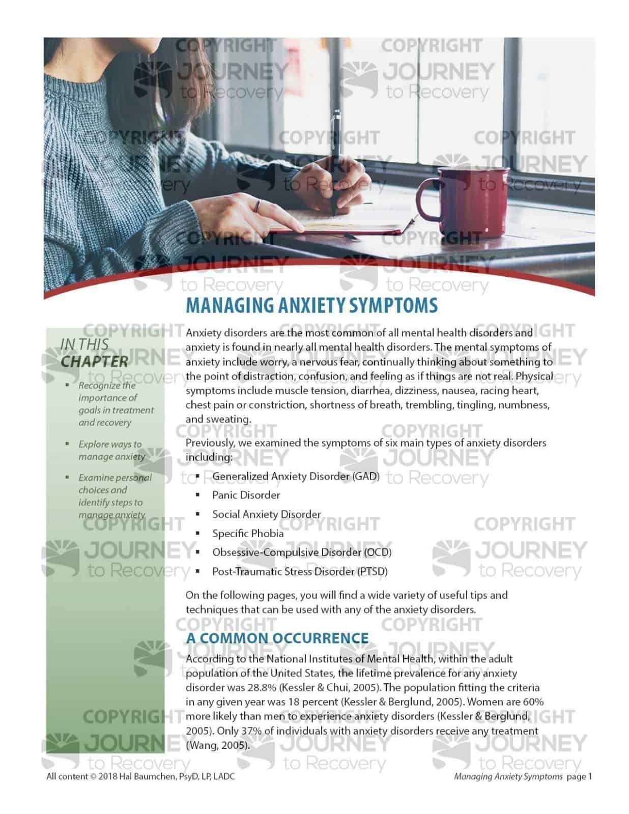 Managing Anxiety Symptoms Cod Lesson