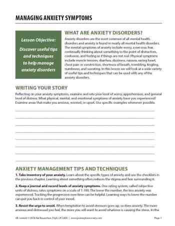 Managing Anxiety Symptoms (COD Worksheet)