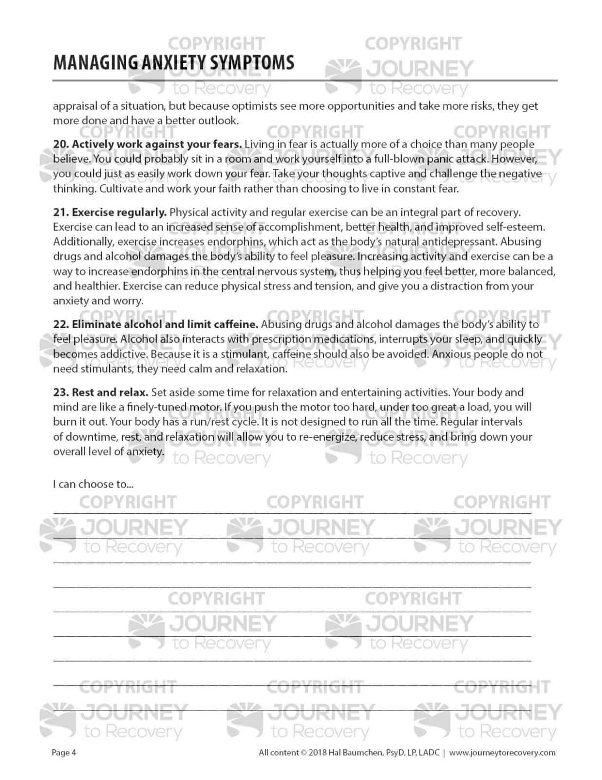 Managing Anxiety Symptoms Cod Worksheet