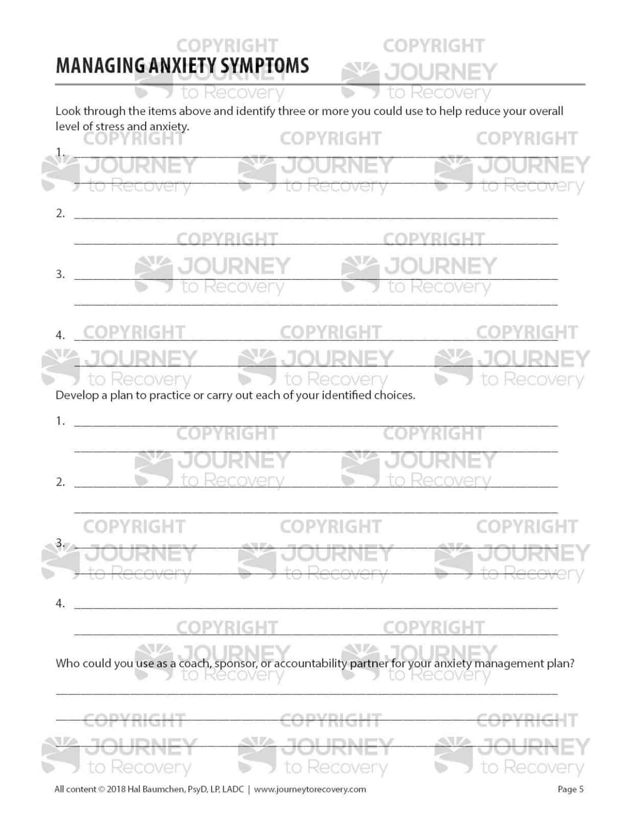 Managing Anxiety Symptoms Cod Worksheet