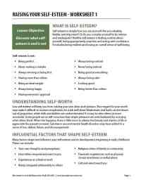 Raising Your Self-Esteem - Worksheet 1 (COD)