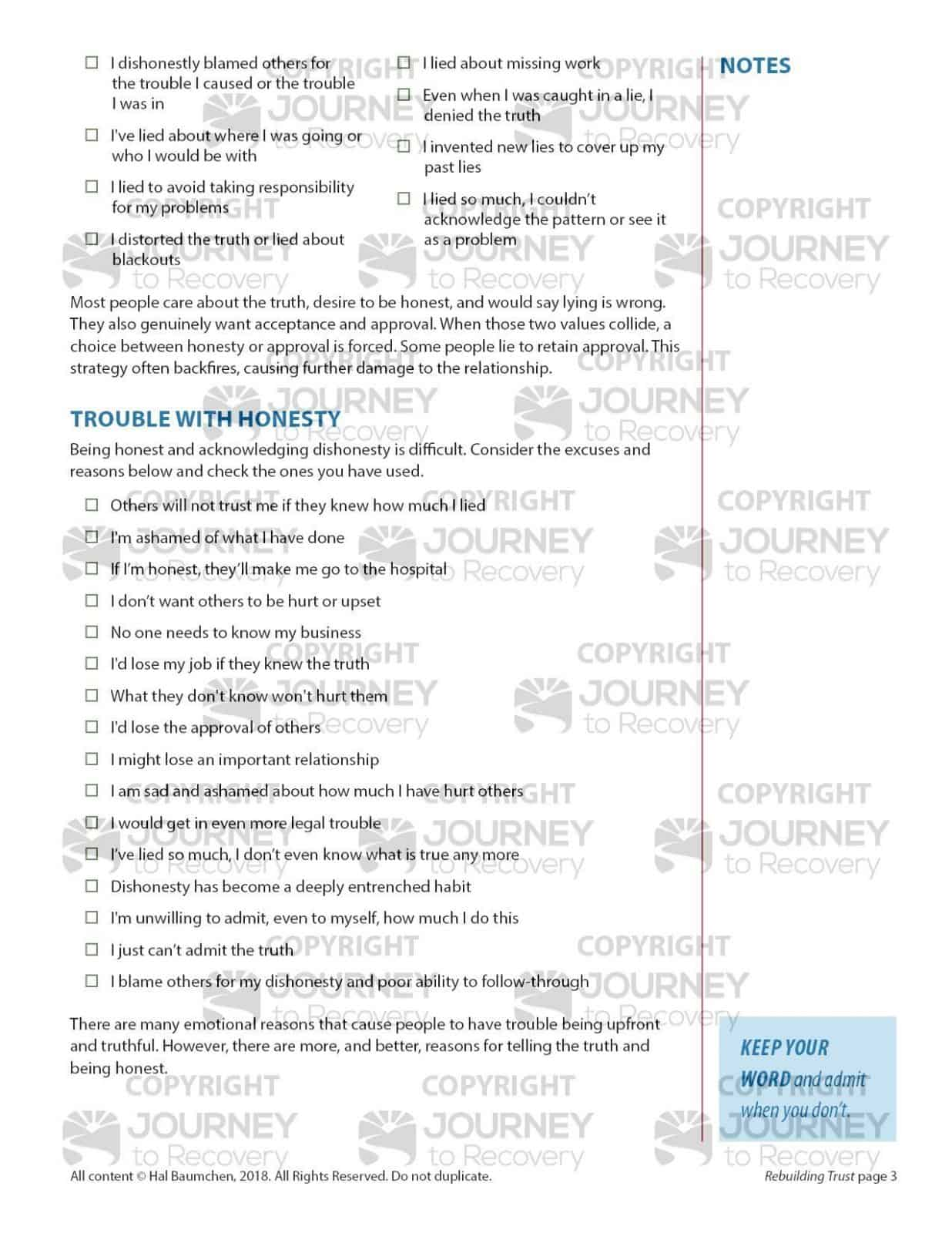 Foundations Of Recovery Worksheets