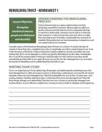 Rebuilding Trust - Worksheet 1 (COD Worksheet)