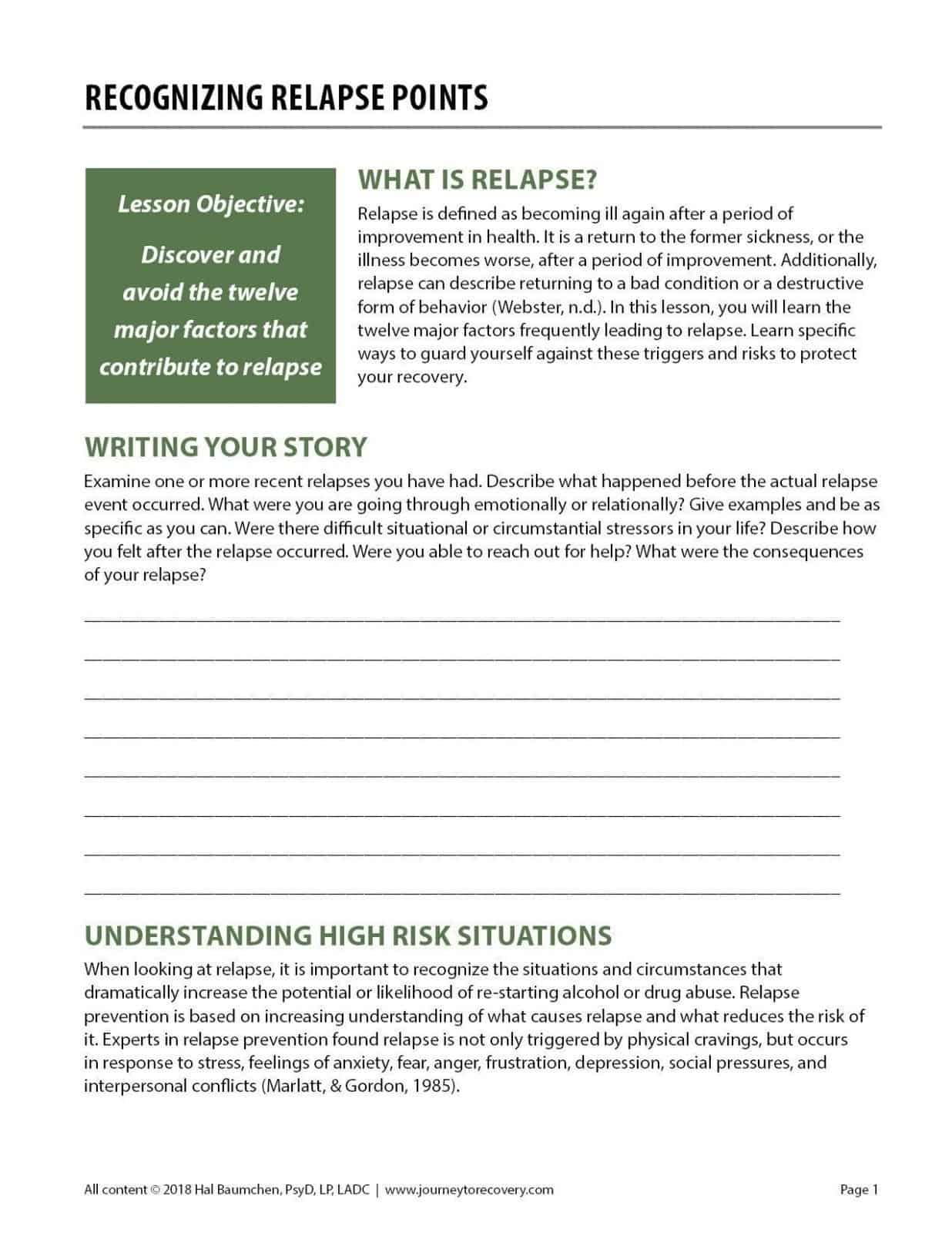 Recognizing Relapse Points Cod Worksheet