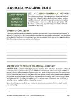 Reducing Relational Conflict – Part B (COD Worksheet)
