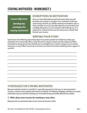 Staying Motivated – Worksheet 2 (COD)