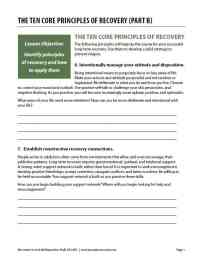 The Ten Core Principles of Recovery - Part B (COD Worksheet)