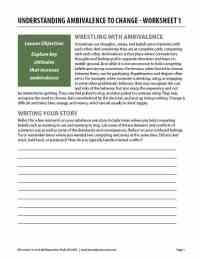 Understanding Ambivalence to Change - Worksheet 1 (COD)