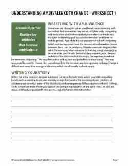 Understanding Ambivalence to Change – Worksheet 1 (COD)