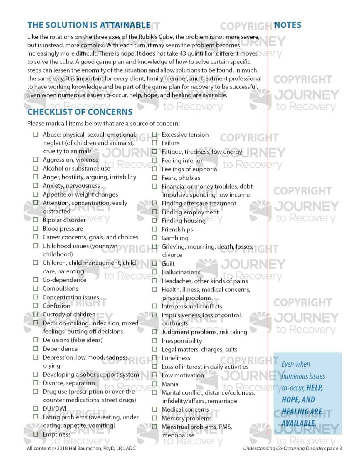 Co Occurring Disorders Worksheets