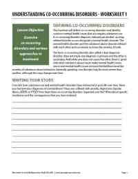 Understanding Co-Occurring Disorders - Worksheet 1 (COD)