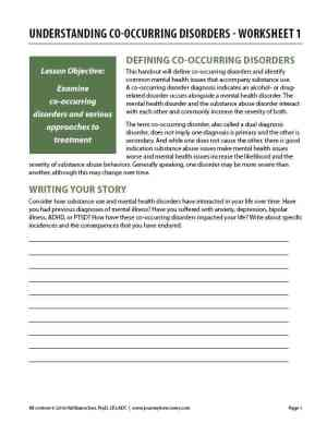 Understanding Co-Occurring Disorders – Worksheet 1 (COD)