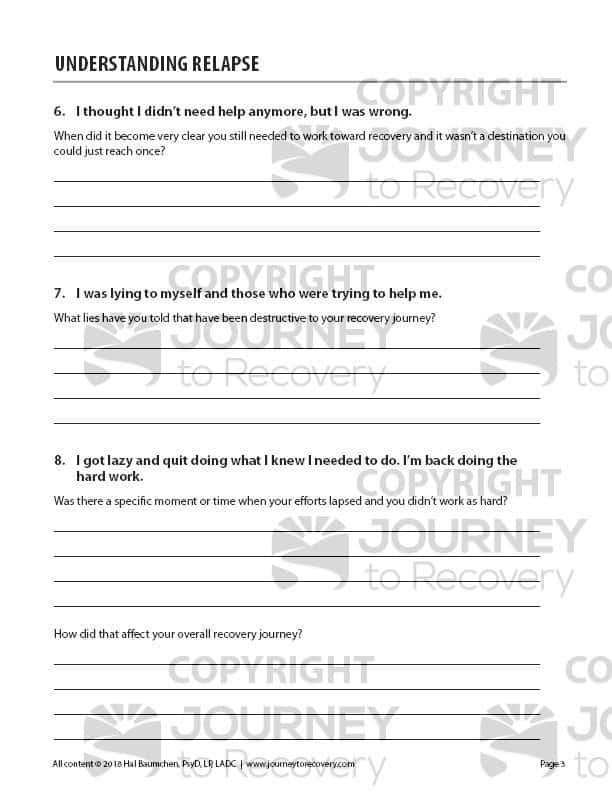 Understanding Relapse Cod Worksheet