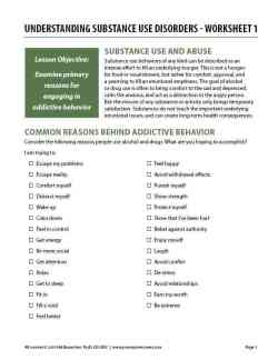Understanding Substance Use Disorders – Worksheet 1 (COD)