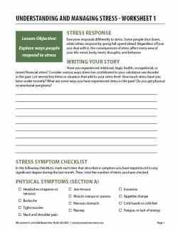 Understanding and Managing Stress – Worksheet 1 (COD)