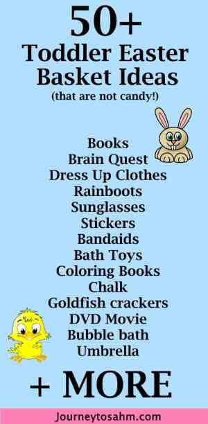 No candy toddler easter basket ideas journey to stay at home mom easter is known for jelly beans chocolate bunnies and peeps it is great negle Images