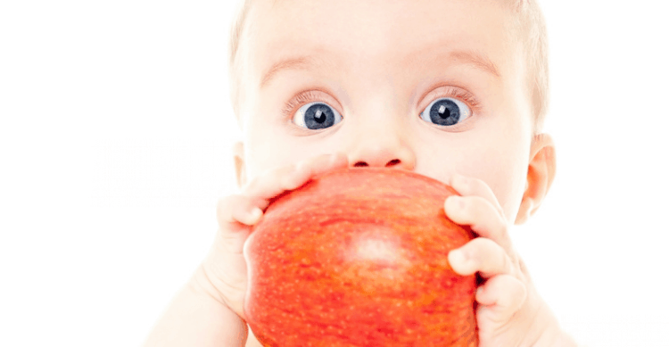 baby and fruit