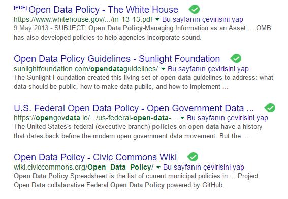 Beyaz Saray'ın Açık Veri Politikalarının Google arama ekran görüntüsüdür.