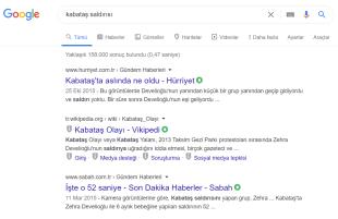 Google, Sabah'ın asılsız Kabataş haberini, arama sonuçlarında da hâlâ üst sıralarda çıkarıyor.