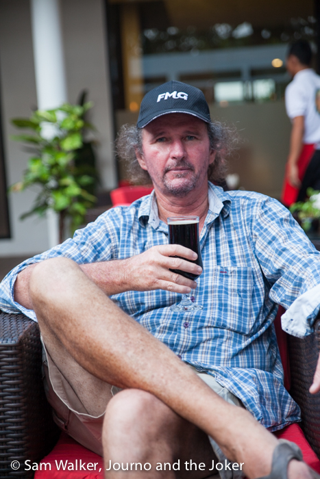 Steve having a beer at the Siem Reap Brewpub