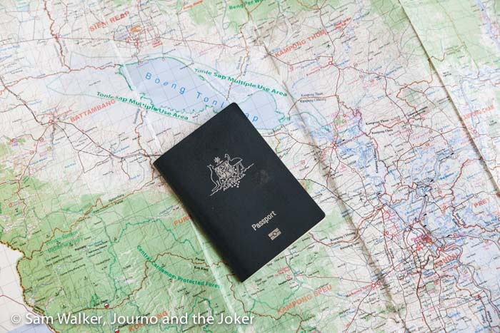 Australian passport on map of Cambodia