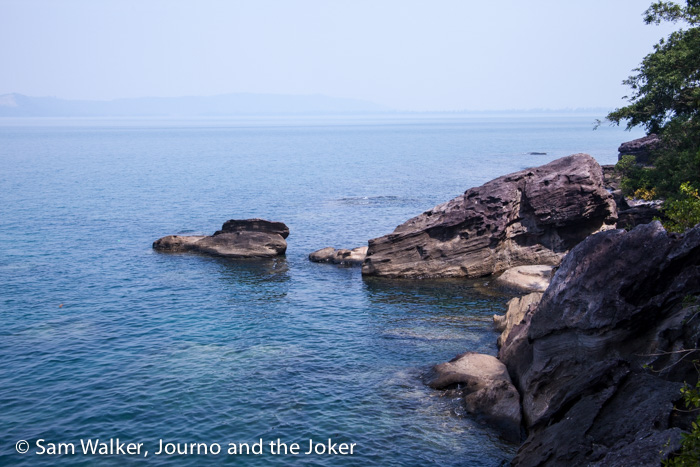 Rocky coast on island near Sihanoukville, Cambodia
