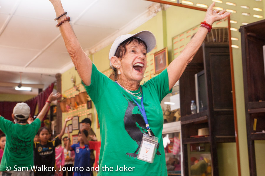 Maggie Counihan one of the Magpies, singing for fun in Siem Reap schools