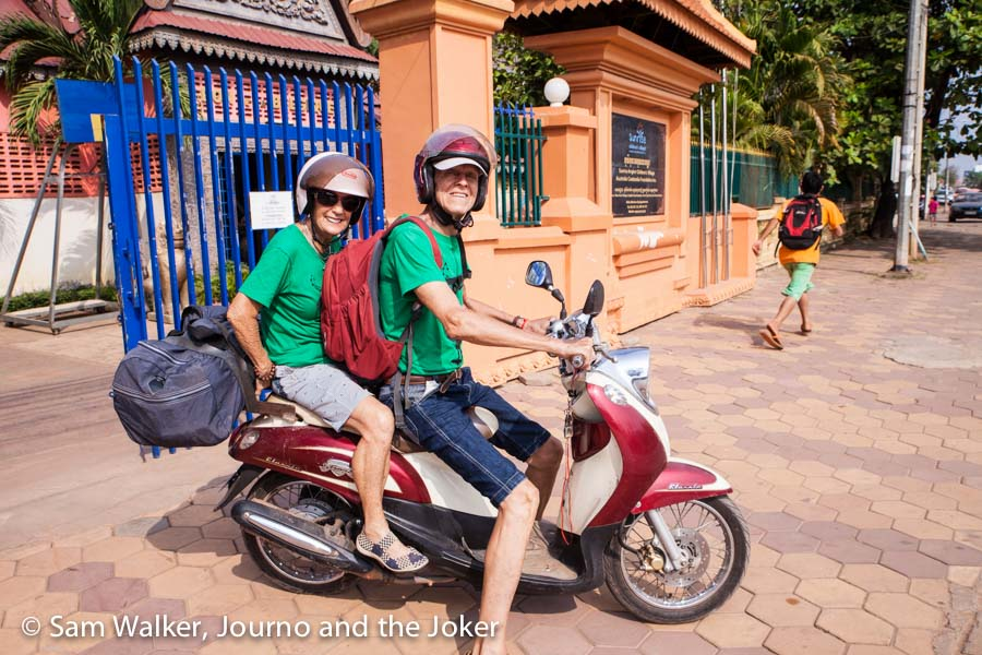 The Magpies - Maggie and Rollo with all their gear loaded on their scooter