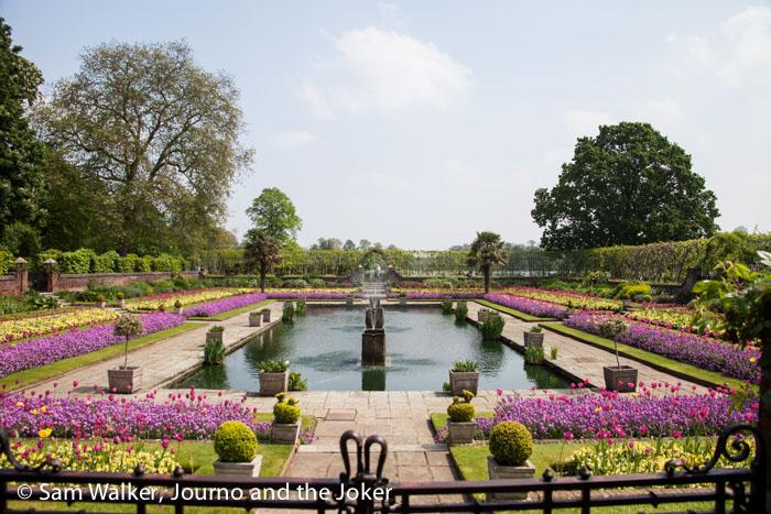 Flower garden in front of Kensington Palace in Kensington Gardens