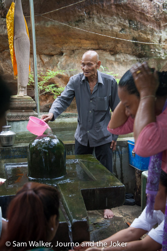 Holy water poured over a linga at Preah Ang Thom, Phnom Kulen
