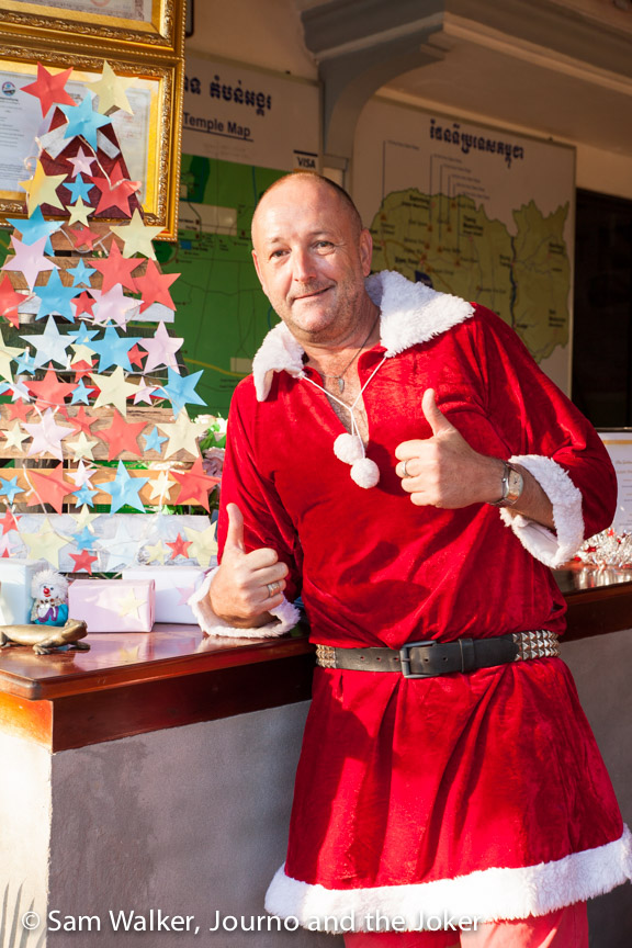 Paul at Golden Gecko Villa in his Santa suit