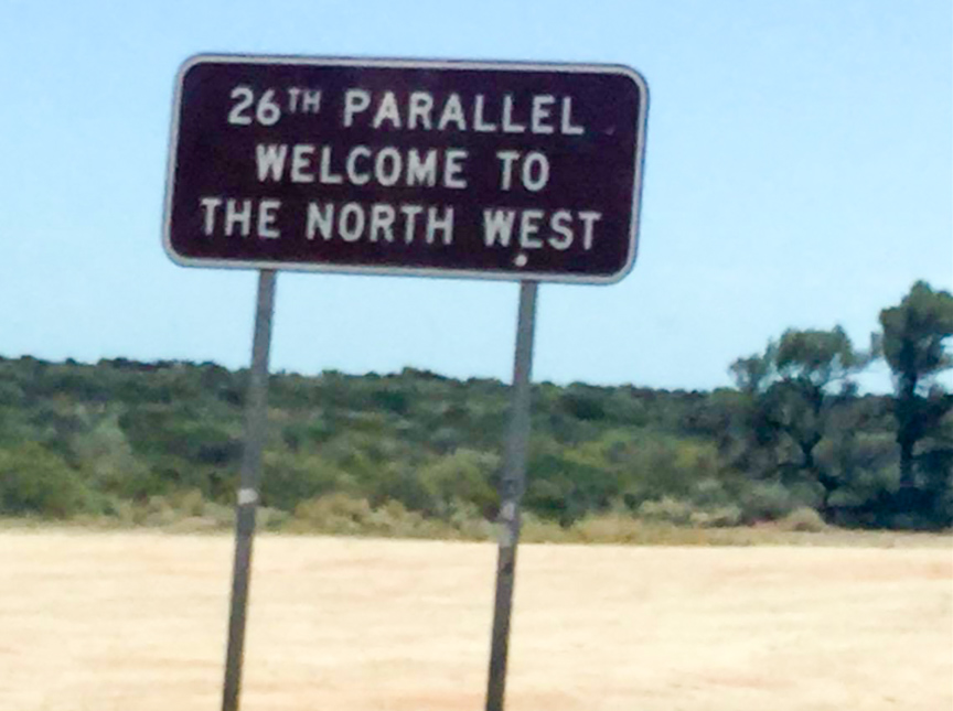Passing the 26th parallel in Western Australia