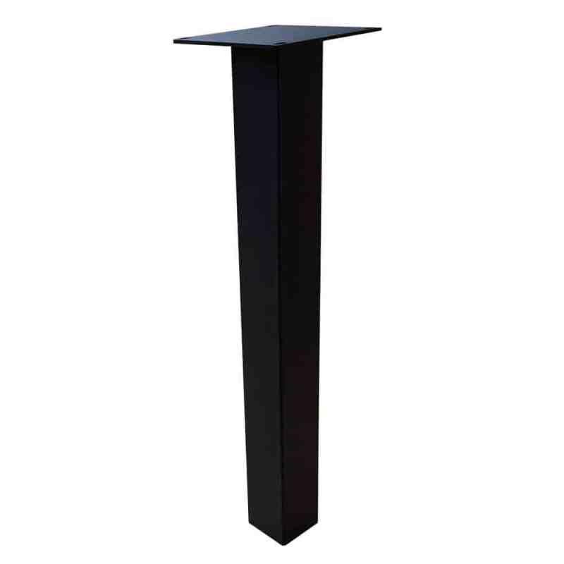 set 4 zwarte rechte tafelpoten 72 cm profiel 8 x 8