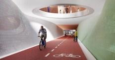 Groningen Spoorzone - Impressie van hoe de fietstunnel op het Hoofdstation er mogelijk uit komt te zien ter hoogte van het nieuwe perronplein.