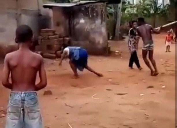 Young man beats up his mother