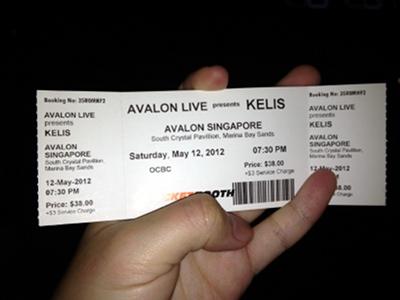 Ticket to Kelis live in Singapore