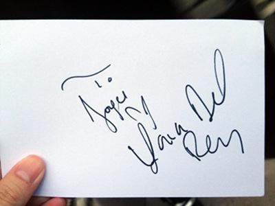 Lana Del Rey's autograph