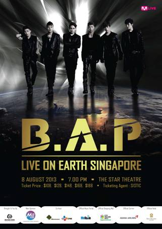 B.A.P. Live on Earth Singapore 2013 poster