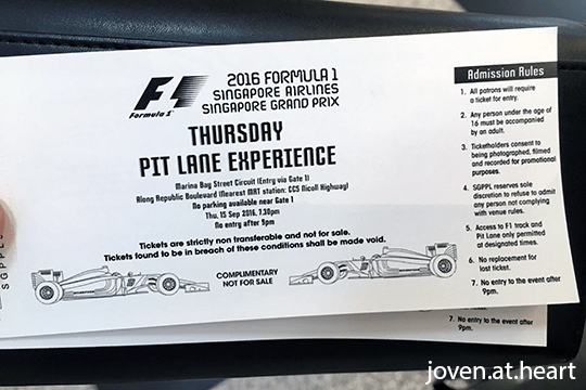 Ticket for the Thursday Pit Lane Experience @ 2016 Formula 1 Singapore Airlines Singapore Grand Prix