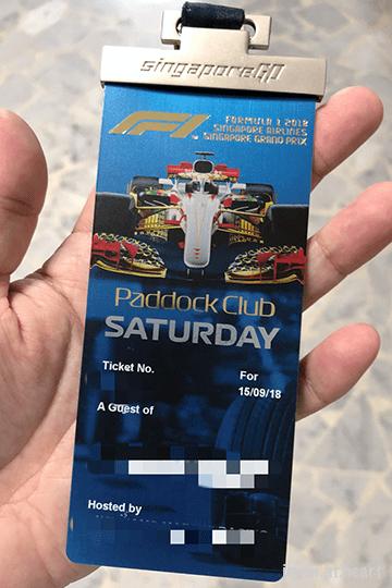 2018 Formula 1 Singapore Airlines Singapore Grand Prix Paddock Pass