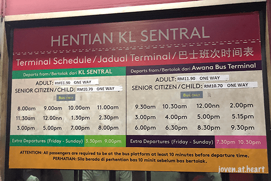 Bus Schedule to Genting Highlands from KL Sentral