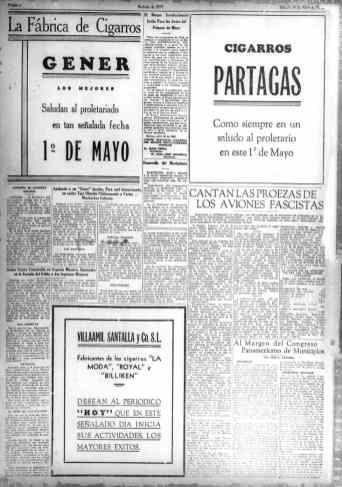 Publicidad en el primer número de Noticias de Hoy, 30 de Abril 1938.