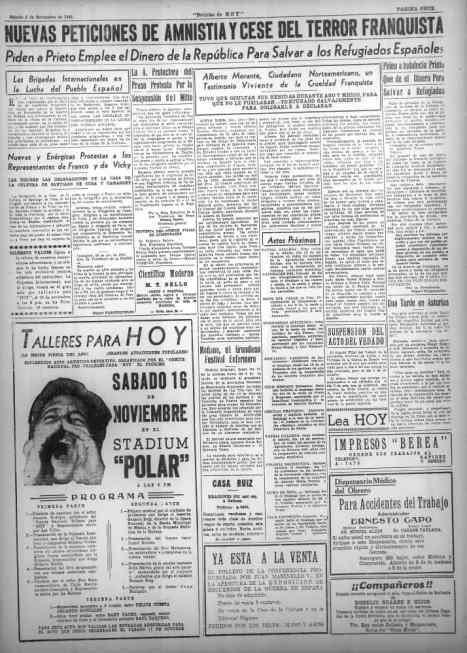 Recaudación para los talleres del periódico del movimiento comunista.