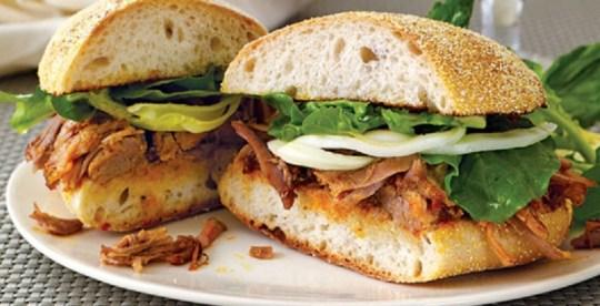 FOOD WINE PULLED PORK SANDWICH POMPANELLA FENNEL SALAD