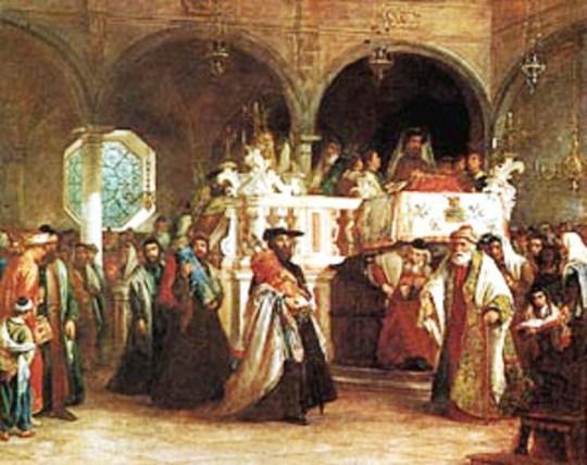 S.A.Hart, Festa della Legge in Livorno's Antica Sinagoga, 1850
