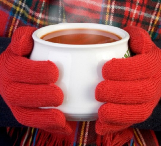 hot cup of steaming tomato soup being held in gloved hands