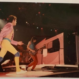 Mick Jagger and Ronny Wood on stage by Jo Wood