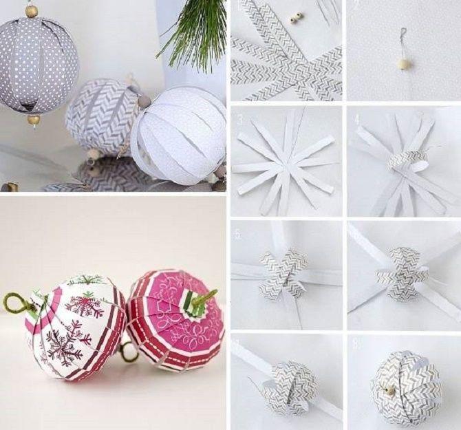 Mainan pokok Krismas yang cantik dan luar biasa dari kertas - bagaimana untuk membuat tangan anda sendiri 17